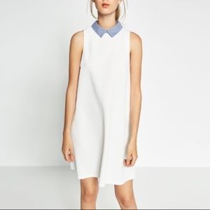 Zara white poplin sleeveless collar dress